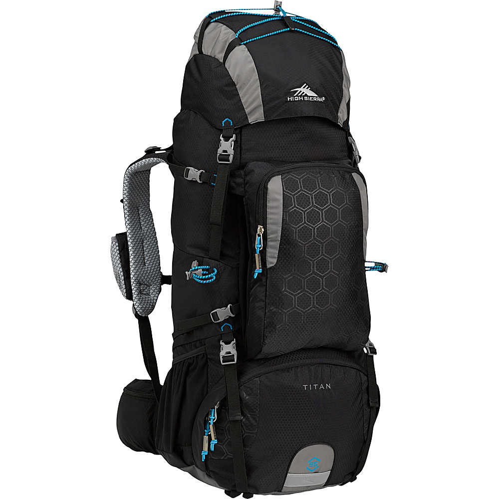 High Sierra Tech 2 Series Titan 55 Frame Pack BLACK/CHARCOAL/POOL - High Sierra Day Hiking Backpacks
