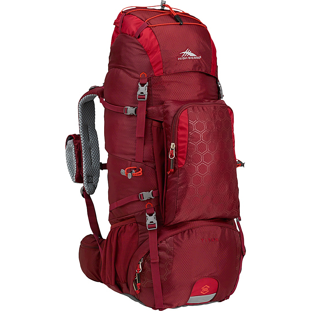 High Sierra Tech 2 Series Titan 55 Frame Pack BRICK RED/CARMINE/RED LINE - High Sierra Day Hiking Backpacks