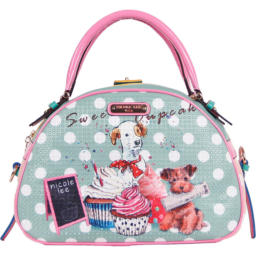 Nicole Lee Cupcake Dog Print Bowler Bag Cupcake Dog Nicole Lee Manmade Handbags