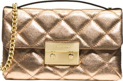 MICHAEL Michael Kors Sloan Small Quilted Messenger Pale Gold - MICHAEL Michael Kors Designer Handbags