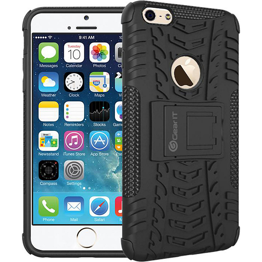 rooCASE Heavy Duty Armor Hybrid Rugged Stand Case for Apple iPhone 6 6s 4.7 Black rooCASE Electronic Cases