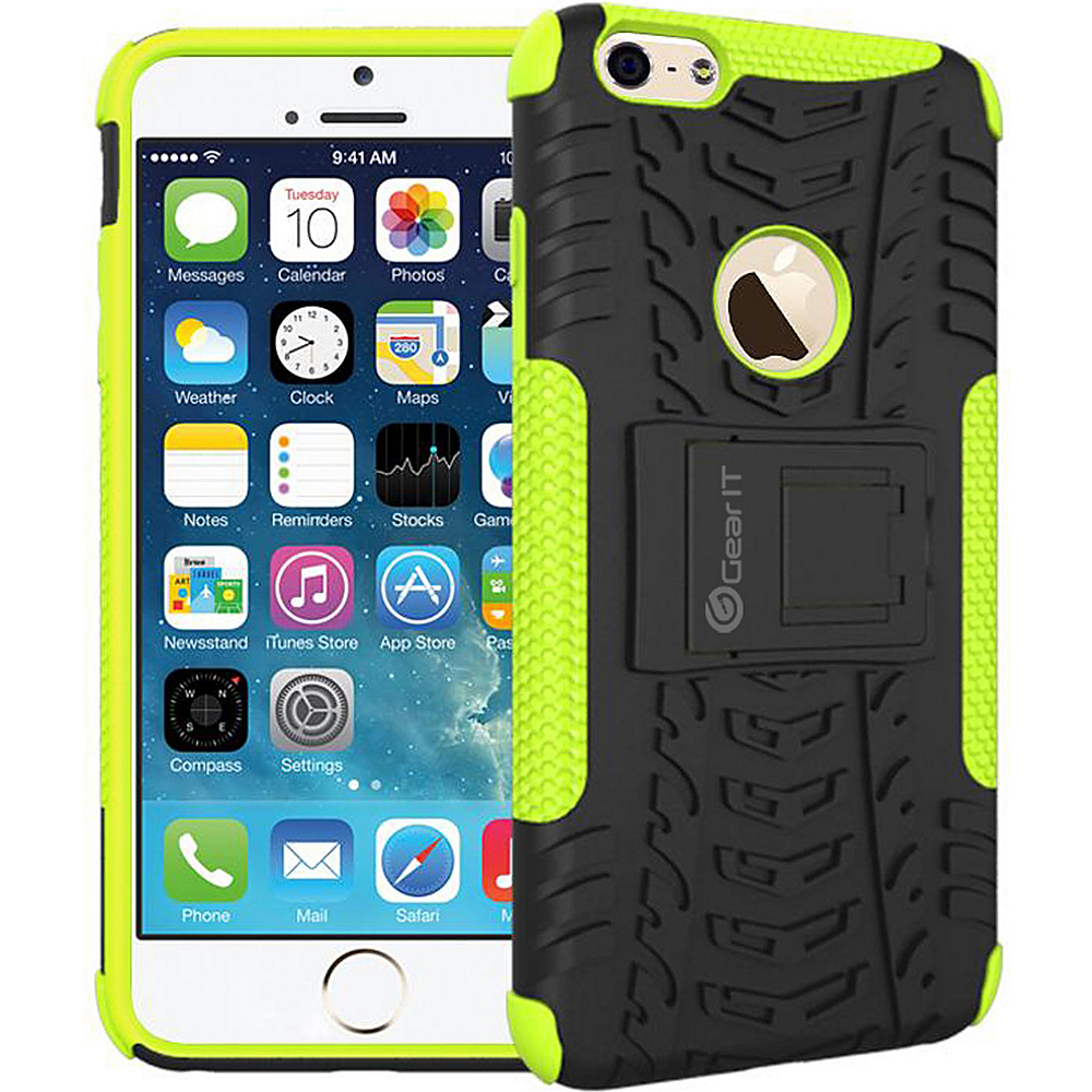 rooCASE Heavy Duty Armor Hybrid Rugged Stand Case for Apple iPhone 6 6s 4.7 Green rooCASE Electronic Cases