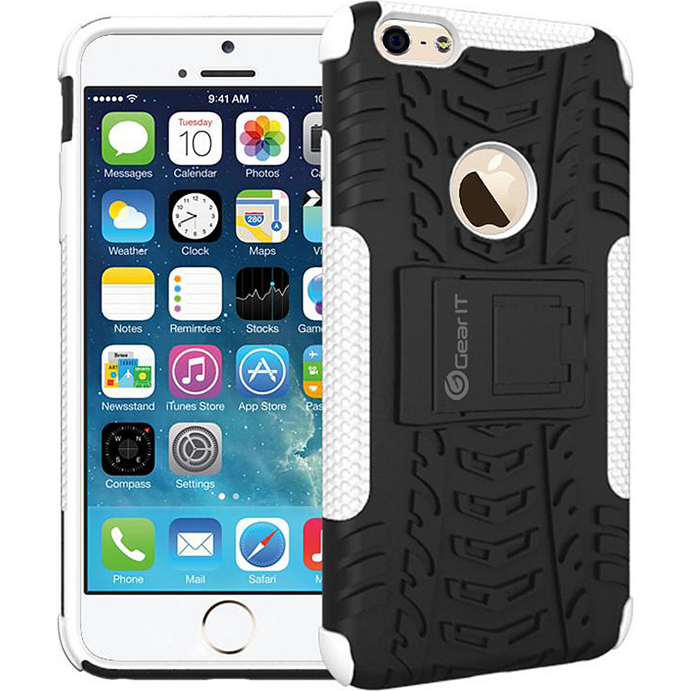 rooCASE Heavy Duty Armor Hybrid Rugged Stand Case for Apple iPhone 6 6s 4.7 White rooCASE Electronic Cases