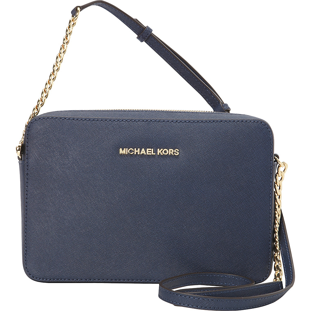 MICHAEL Michael Kors Jet Set Large E/W Crossbody Navy - MICHAEL Michael Kors Designer Handbags