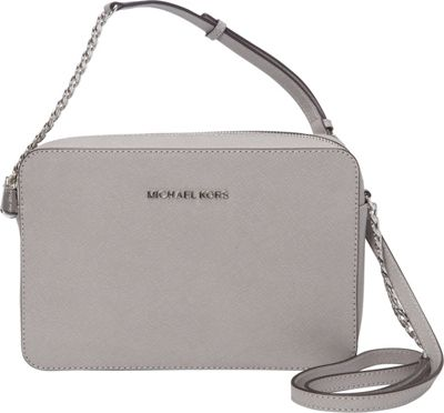 MICHAEL Michael Kors Jet Set Large E/W Crossbody Pearl Grey - MICHAEL Michael Kors Designer Handbags