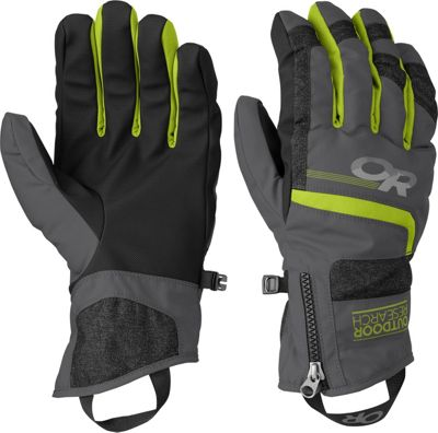 Outdoor Research Riot Gloves Men's Charcoal/Lemongrass – MD - Outdoor Research Gloves
