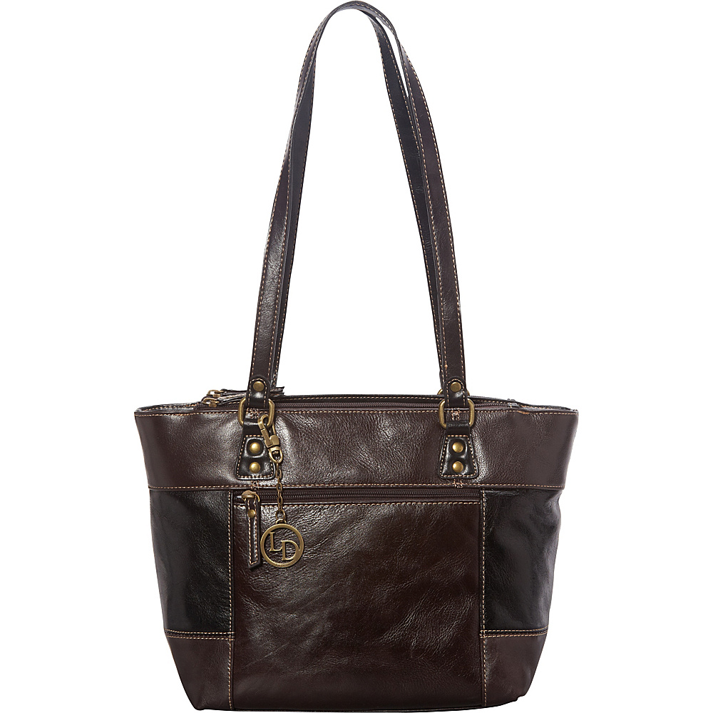 La Diva Multi Compartment Tote Brown/Black - La Diva Leather Handbags