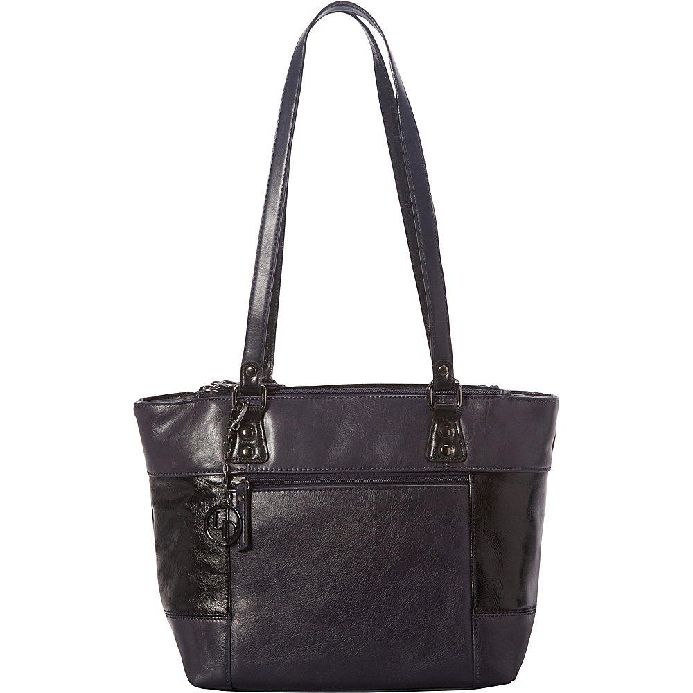 La Diva Multi Compartment Tote Navy/Black - La Diva Leather Handbags