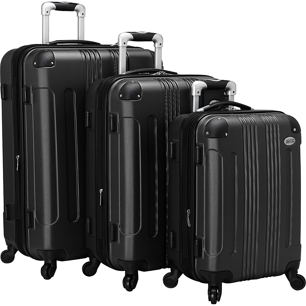 American Flyer Kova Hardside Spinner Luggage Set Black American Flyer Luggage Sets