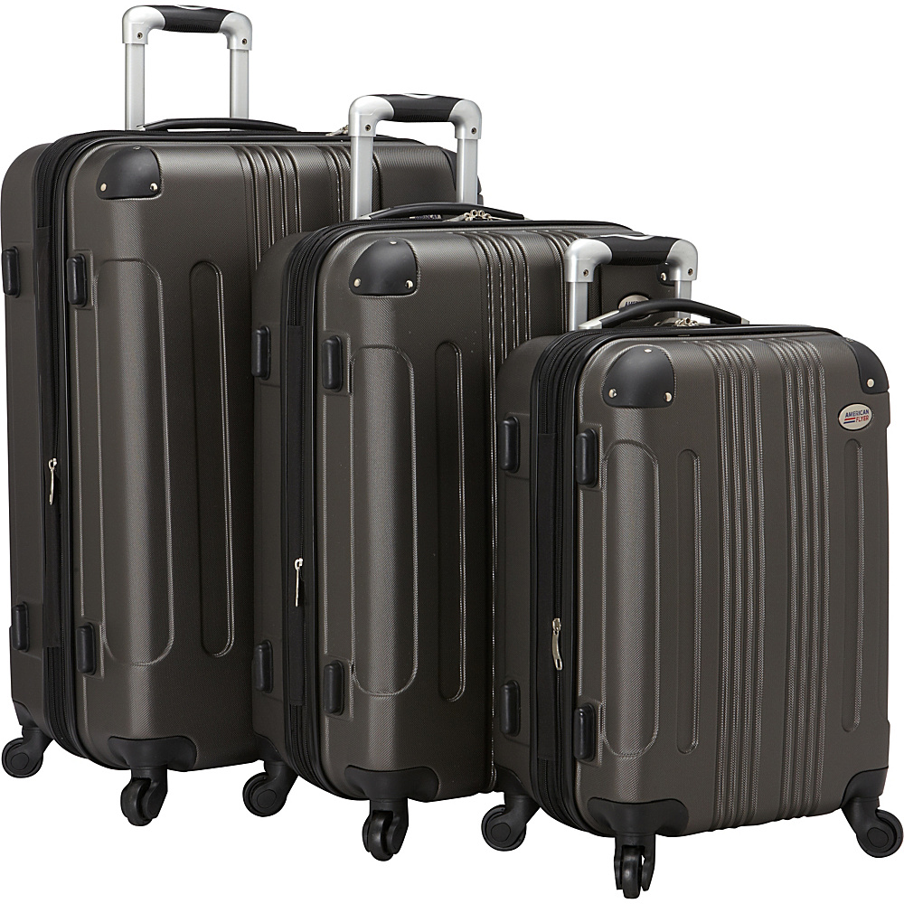 American Flyer Kova Hardside Spinner Luggage Set Grey American Flyer Luggage Sets
