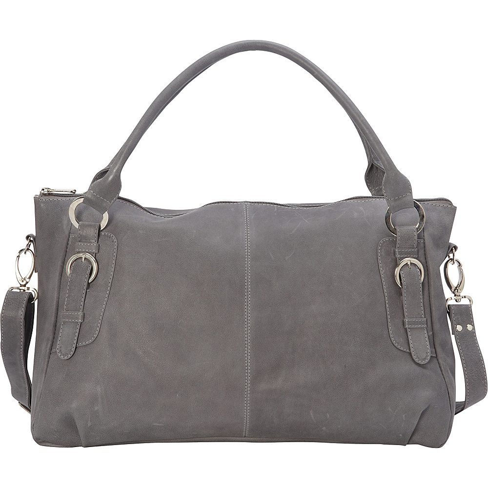 Piel Large Convertible Satchel Handbag Charcoal - Piel Leather Handbags - Handbags, Leather Handbags