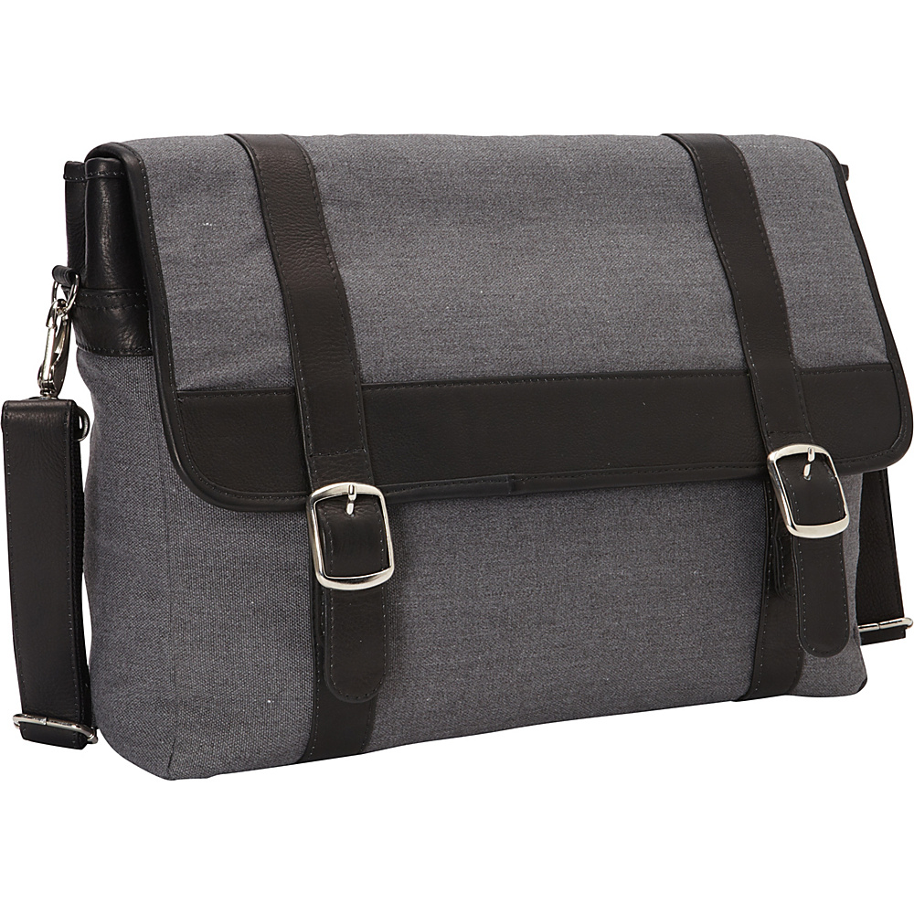 Piel Flap-Over Laptop,  Tablet Portfolio Briefcase Black - Piel Non-Wheeled Business Cases