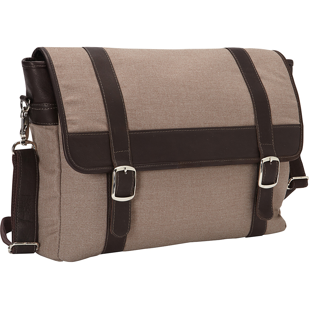 Piel Flap-Over Laptop,  Tablet Portfolio Briefcase Chocolate - Piel Non-Wheeled Business Cases