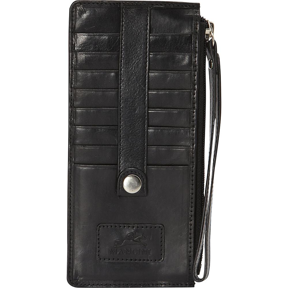 Mancini Leather Goods Ladies Wristlet RFID Secure Black Mancini Leather Goods Women s Wallets