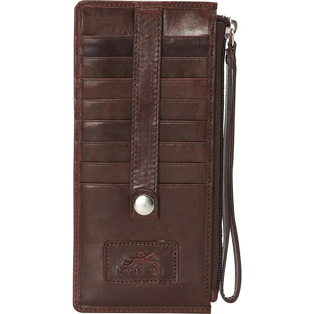 Mancini Leather Goods Ladies Wristlet RFID Secure Brown Mancini Leather Goods Women s Wallets