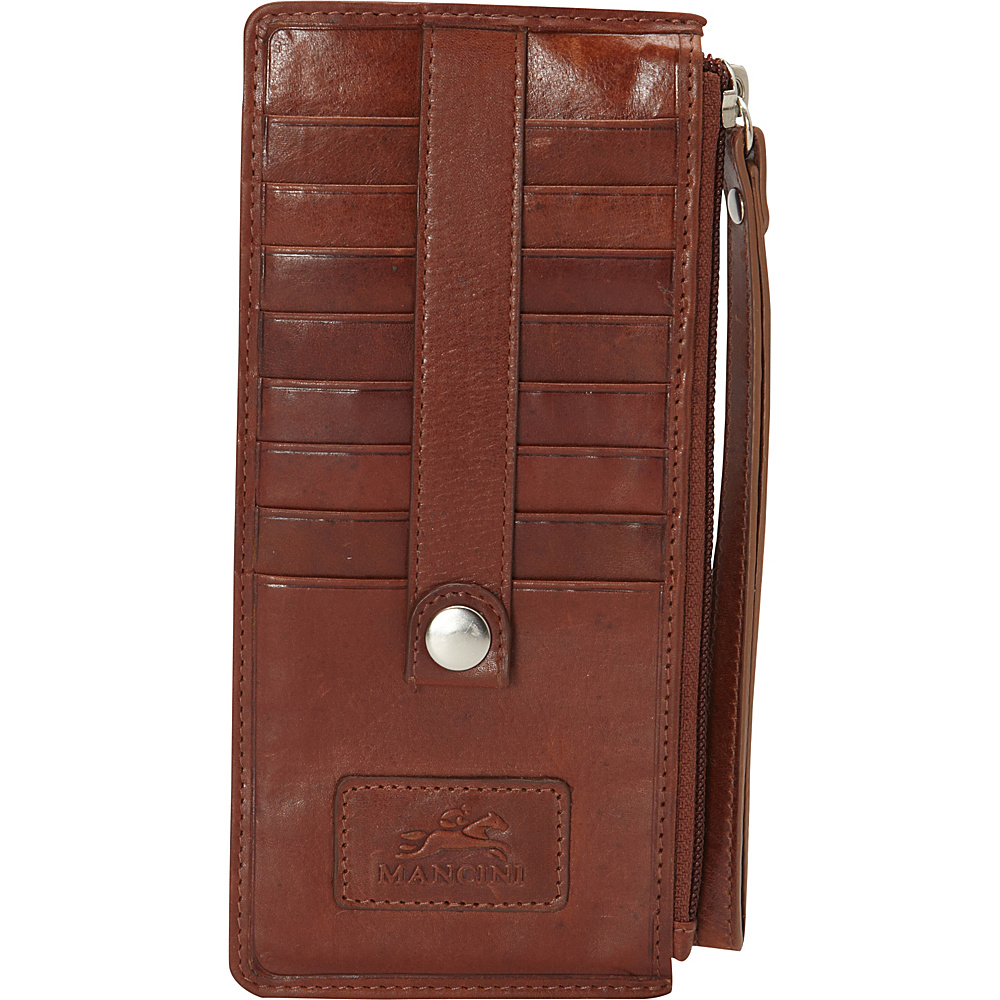 Mancini Leather Goods Ladies Wristlet RFID Secure Cognac Mancini Leather Goods Women s Wallets