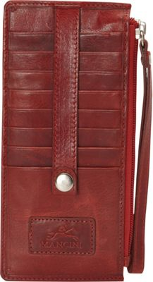 Mancini Leather Goods Casablanca Collection: Ladies' Medium RFID Wristlet Red - Mancini Leather Goods Women's Wallets
