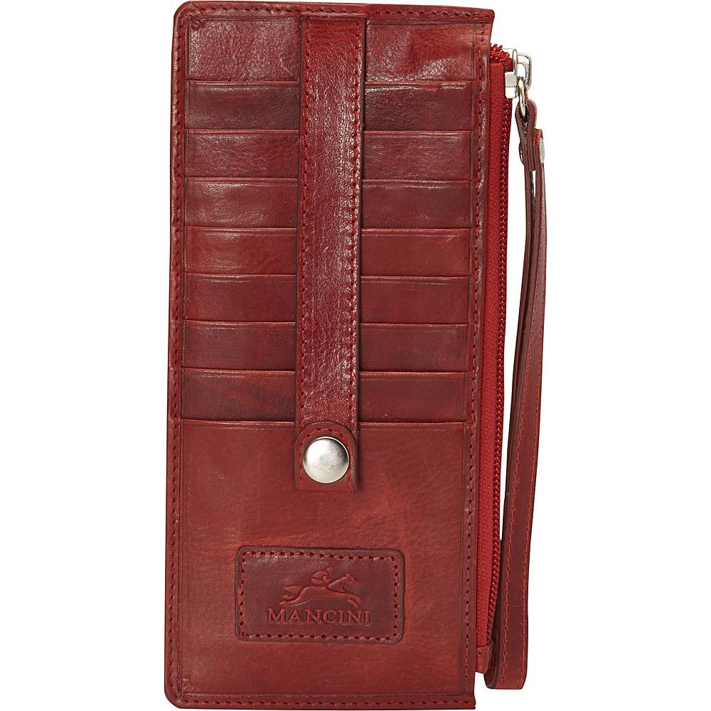 Mancini Leather Goods Ladies Wristlet RFID Secure Red Mancini Leather Goods Women s Wallets