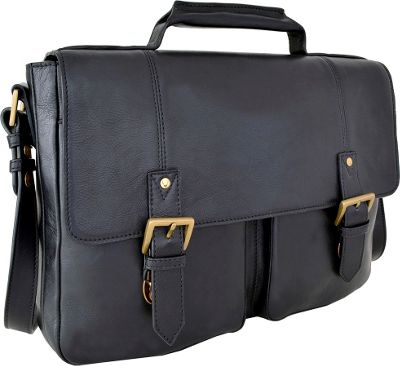 Hidesign Charles Leather 17 inch Laptop Compatible Briefcase Work Bag Black - Hidesign Non-Wheeled Business Cases