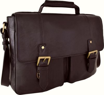 Hidesign Charles Leather 17 inch Laptop Compatible Briefcase Work Bag Brown - Hidesign Non-Wheeled Business Cases