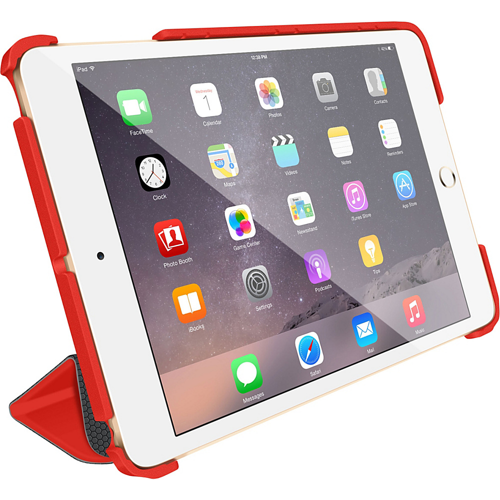 rooCASE Optigon 3D Slim Shell Folio Case Smart Cover for Apple iPad Mini 3 2 1 Red - rooCASE Electronic Cases