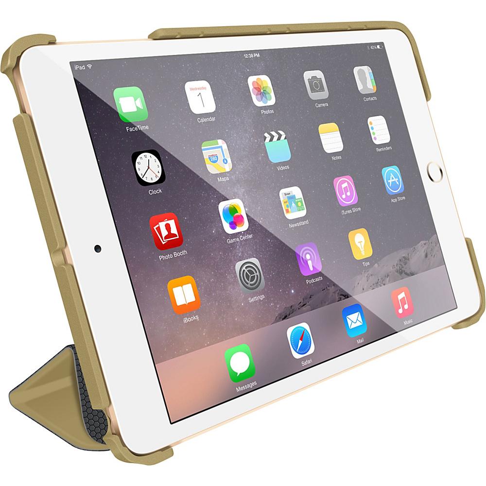 rooCASE Optigon 3D Slim Shell Folio Case Smart Cover for Apple iPad Mini 3 2 1 Fossil Gold - rooCASE Electronic Cases