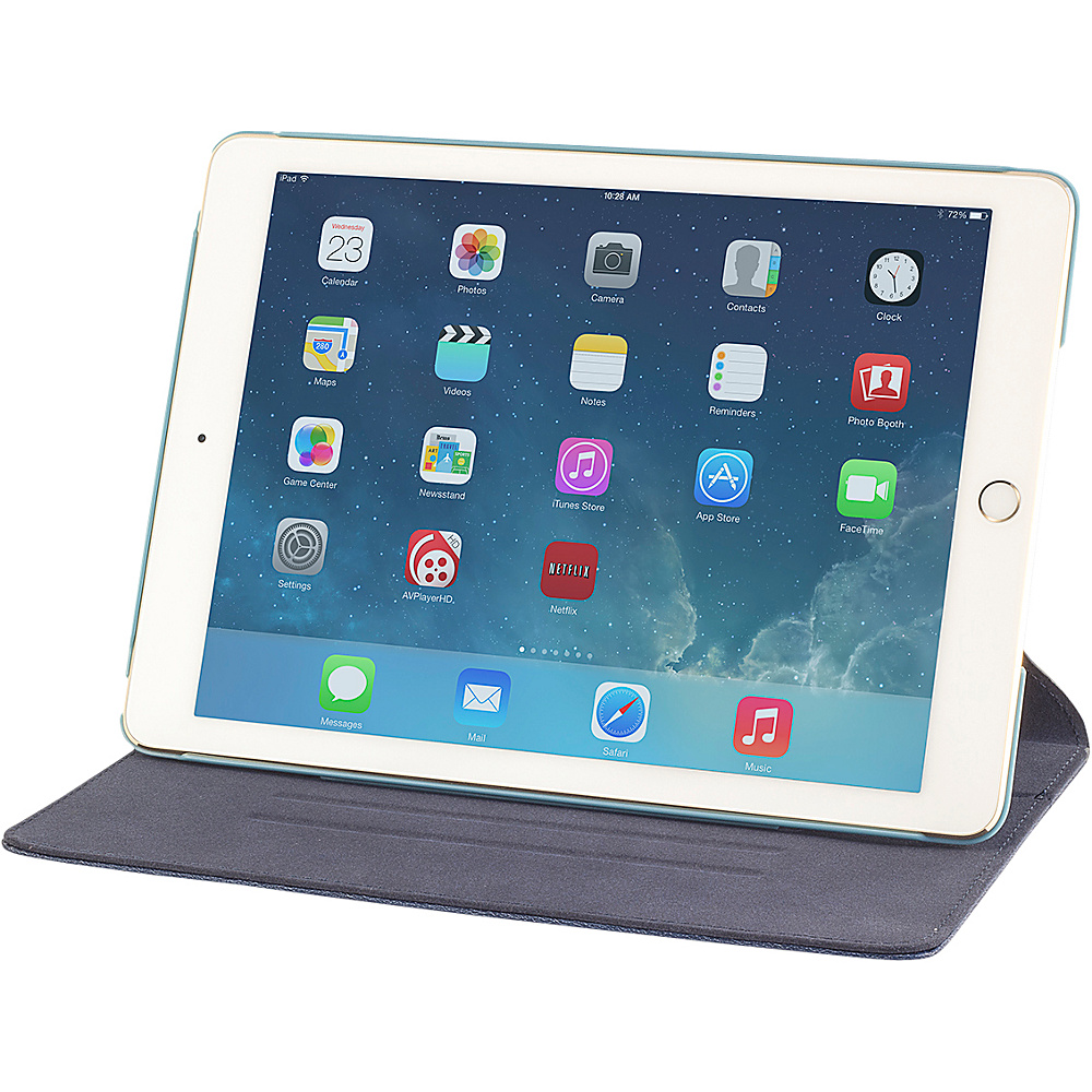 Devicewear Thin Apple iPad Air 2 Case with Six Position Flip Stand and On Off Switch Blue Devicewear Electronic Cases