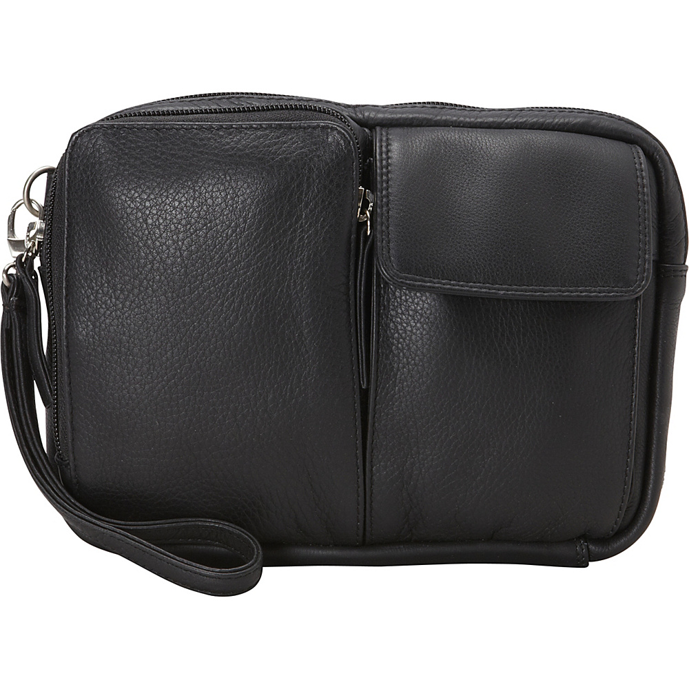 Derek Alexander Top Zip Multi Compartment Organizer Wristlet Black - Derek Alexander Leather Handbags