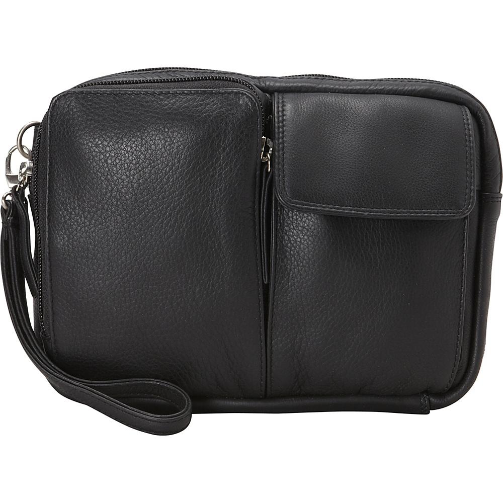 Derek Alexander Top Zip Multi Compartment Organizer Wristlet Black - Derek Alexander Leather Handbags
