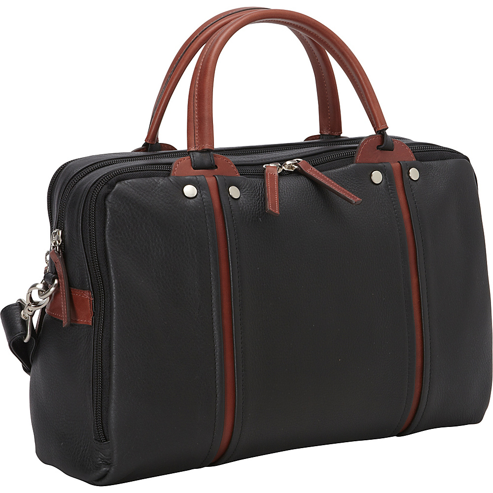 Derek Alexander Ladies Three Compartment Tablet Friendly Brief Black Brandy Derek Alexander Non Wheeled Business Cases