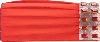 J. Furmani Pleated Crystal Side Clutch RED - J. Furmani Evening Bags