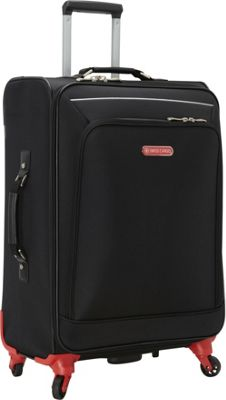 Swiss Cargo Petra 24 inch Spinner Luggage Black Silver - Swiss Cargo Softside Checked