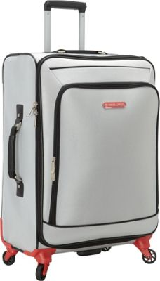 Swiss Cargo Petra 24 inch Spinner Luggage Silver Black - Swiss Cargo Softside Checked
