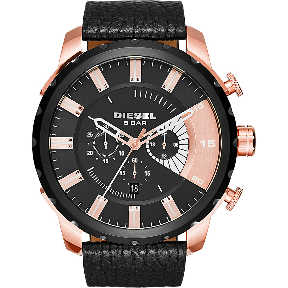 Diesel Watches Stronghold Textured Leather Watch Black/Black - Diesel Watches Watches