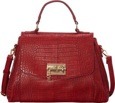 SW Global Ettie Crocodile Pattern Satchel Red - SW Global Manmade Handbags