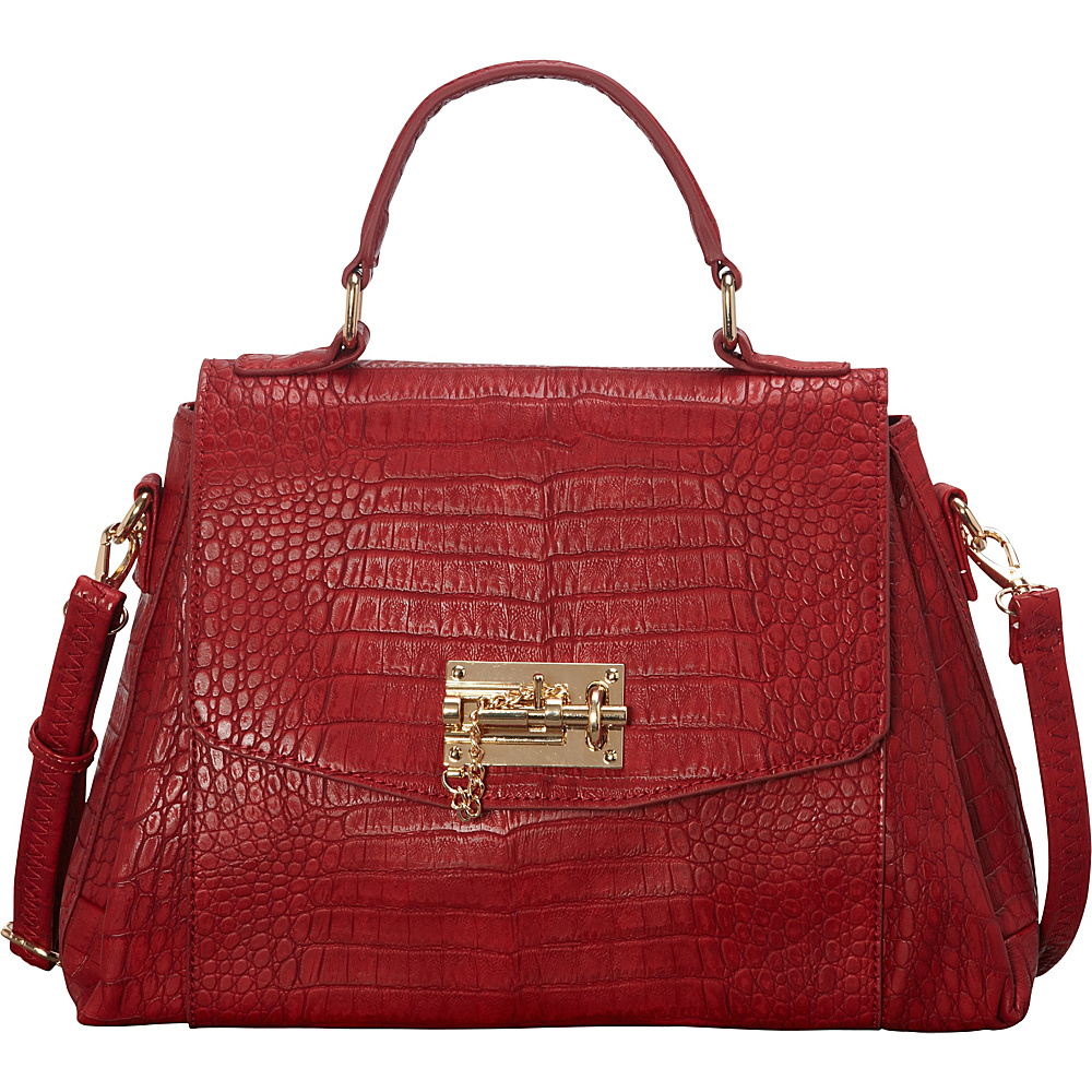SW Global Ettie Crocodile Pattern Satchel Red - SW Global Manmade Handbags - Handbags, Manmade Handbags