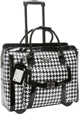 Cabrelli Cabrelli Victoria Houndstooth 15.6 inch Laptop Rollerbrief Black/White - Cabrelli Wheeled Business Cases