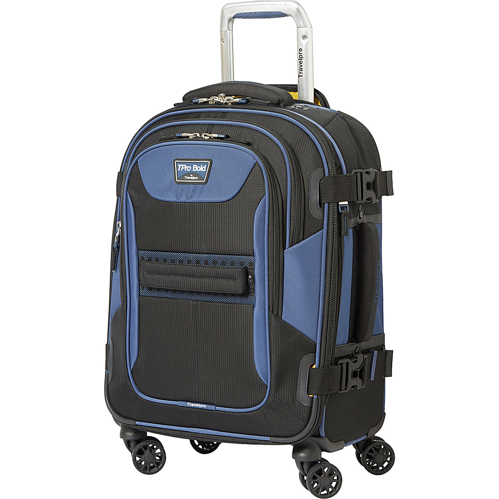 "Travelpro T-Pro Bold 2.0 21"" Expandable Spinner Black & Blue - Travelpro Softside Carry-On"