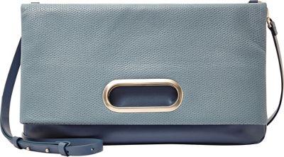 Skagen Ella Perforated Leather Fold-Over Blue Fog - Skagen Leather Handbags