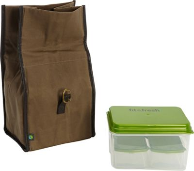 Fit & Fresh Classic Insulated Lunch Bag Kit with Reusable Containers Brown - Fit & Fresh Travel Coolers