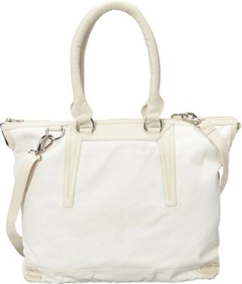 Sharo Leather Bags Large Canvas and Leather Tote Handbag White/Beige Two Tone - Sharo Leather Bags Fabric Handbags