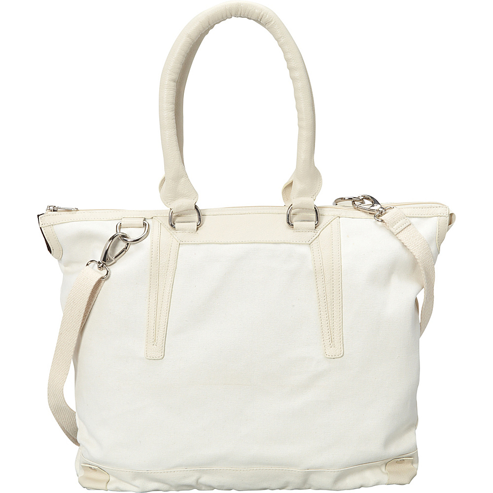 Sharo Leather Bags Large Canvas and Leather Tote Handbag White Beige Two Tone Sharo Leather Bags Fabric Handbags