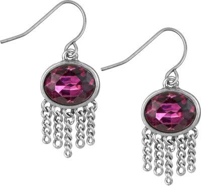 The Sak Jewelry Oval Fringe Drop Earrings Fuchsia - The Sak Jewelry Jewelry