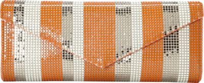Whiting and Davis Stripes Clutch Orange Multi - Whiting and Davis Evening Bags