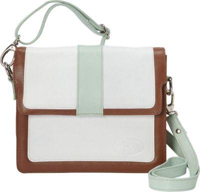 Sharo Leather Bags Colorblock Leather Cross Body Bag White/Mint/Brown - Sharo Leather Bags Leather Handbags