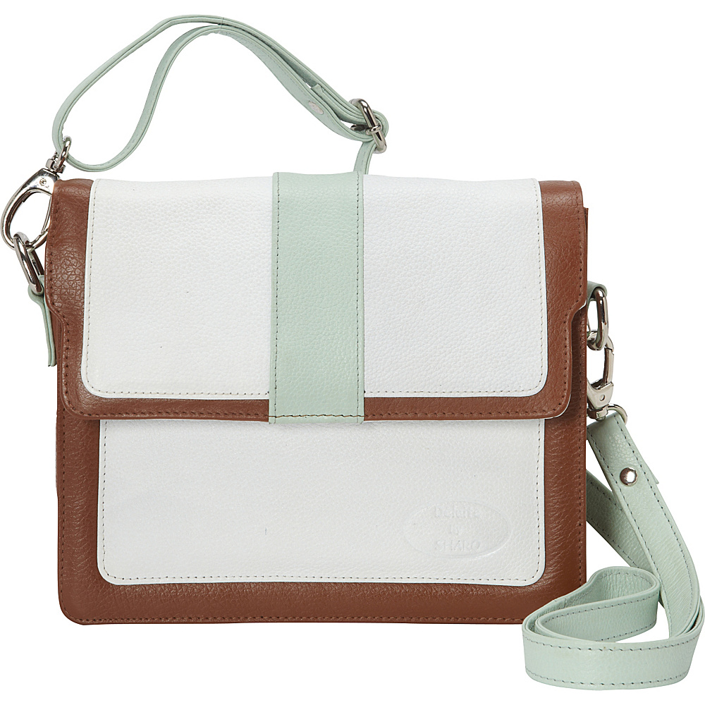 Sharo Leather Bags Colorblock Leather Cross Body Bag White/mint/brown Sharo Leather Bags Leather Handbags