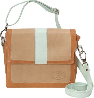 Sharo Leather Bags Colorblock Leather Cross Body Bag Beige/Mint/Cognac - Sharo Leather Bags Leather Handbags