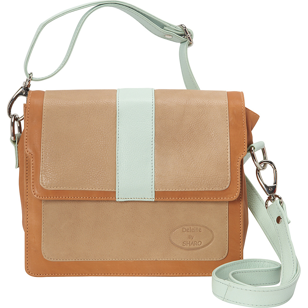 Sharo Leather Bags Colorblock Leather Cross Body Bag Beige/mint/cognac Sharo Leather Bags Leather Handbags