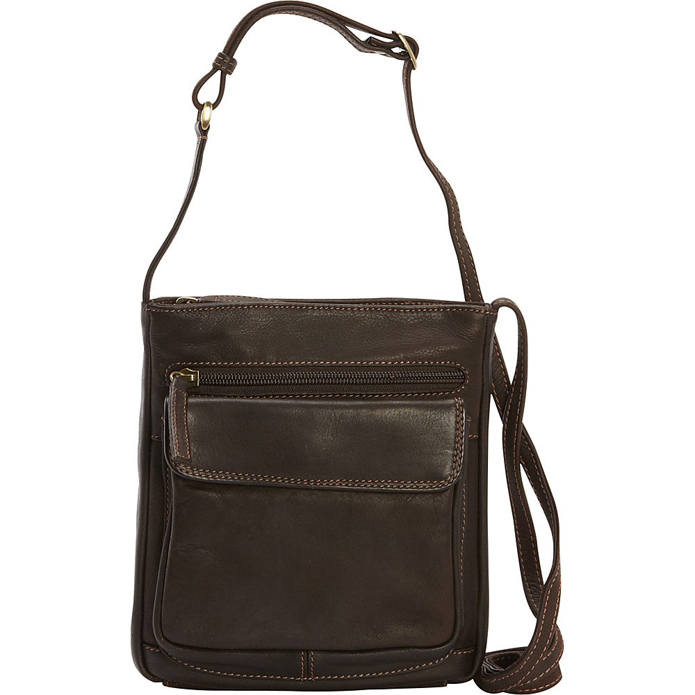 Derek Alexander N/S Front Zip Organizer Crossbody Brown - Derek Alexander Leather Handbags - Handbags, Leather Handbags