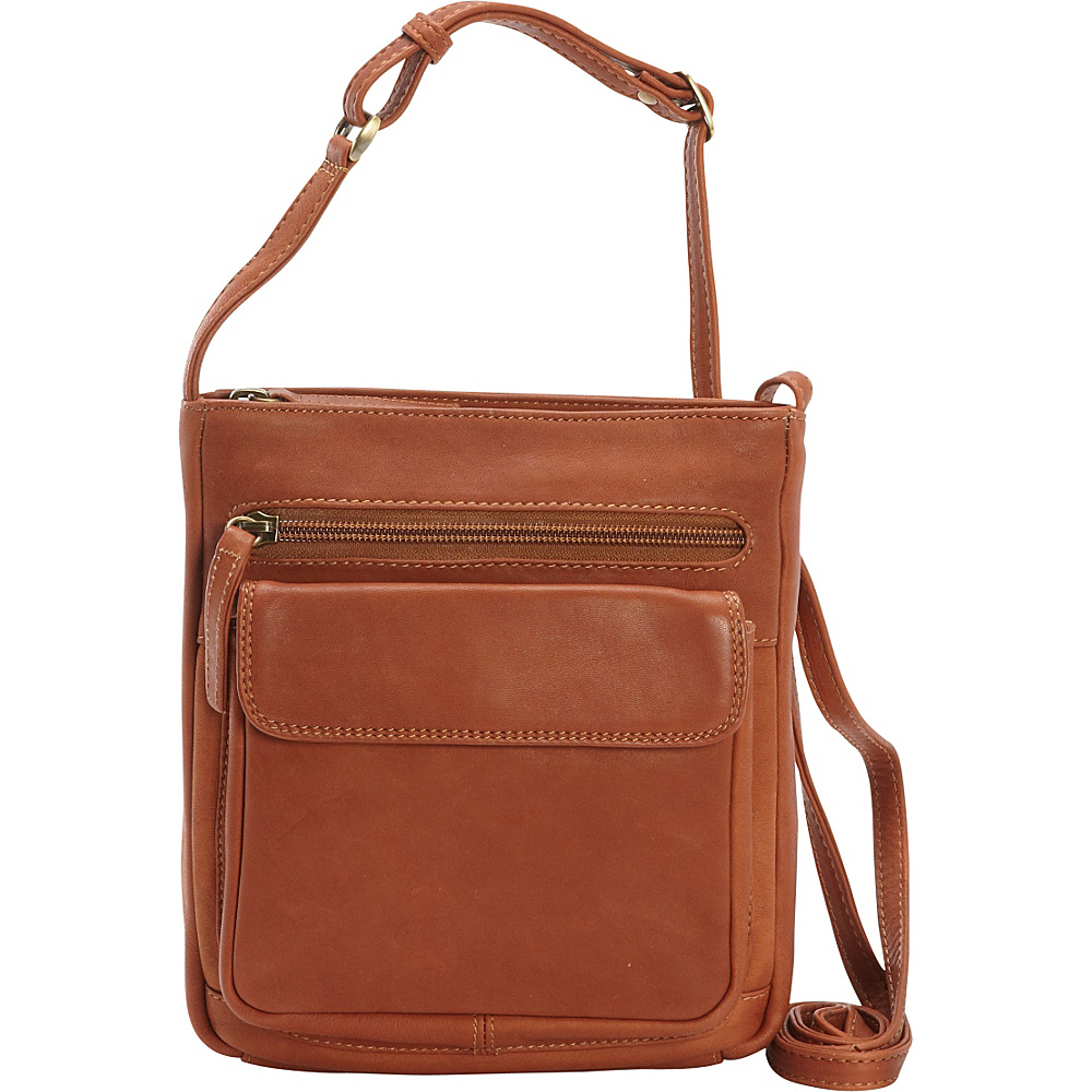 Derek Alexander N/S Front Zip Organizer Crossbody Tan - Derek Alexander Leather Handbags - Handbags, Leather Handbags